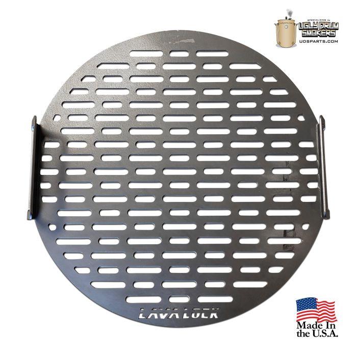 LavaLock® 21.75 in round 55 gal UDS cooking grate - Laser Cut w/ handles