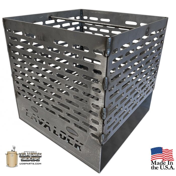 LavaLock® Slotted 12 x 12 x 12 Laser cut basket  for UDS 55 gallon drum smokers
