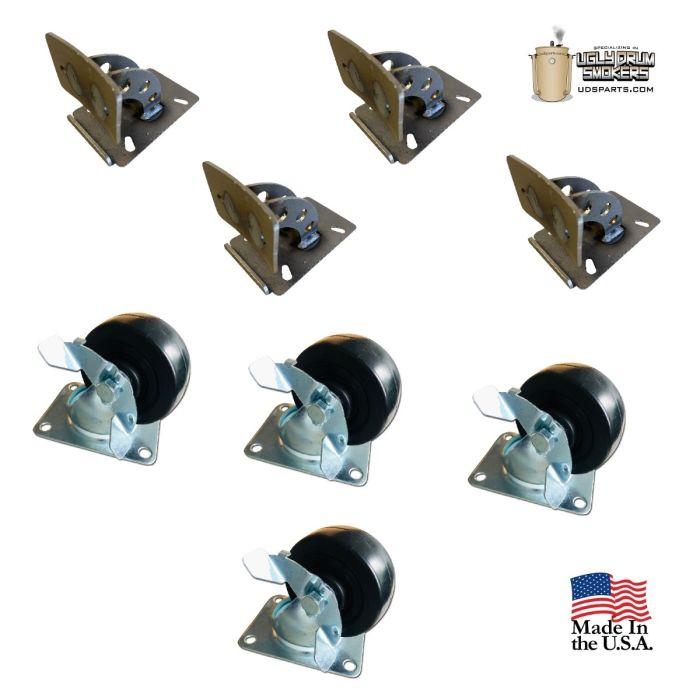 LavaLock® UDS Wheel Caster & Bracket Kit - DrumTex™ Collection - 4 pack