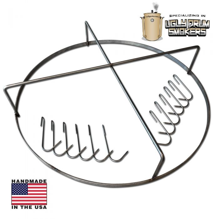 LavaLock® UDS Stainless Meat / Rib Hanging System w/ Meat & Rib Hooks for Ugly Drum 30 or 55 gallon smoker