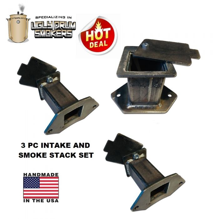 LavaLock® UDS Intake and Exhaust Damper Set for Ugly Drum Smoker - 3 pc set - Square